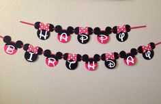 Minnie Mouse Birthday Banner Mickey Mouse by CuddleBuggParties