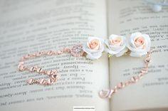 Rose gold roses bracelet Peach rose jewelry Handmade flowers