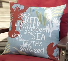 Lobster Sentiment Outdoor Pillow | Pottery Barn