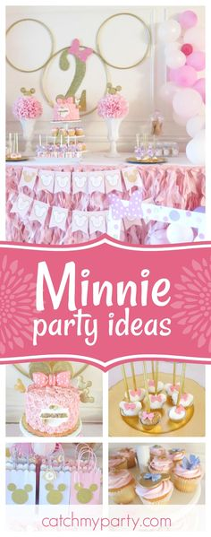 Take a look at this stunning Minnie birthday party! The dessert table is amazing!! See more party ideas and share yours at CatchMyParty.com