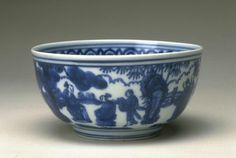 Bowl with a scene of elegant gathering, Ming dynasty, Jiajing six-character mark within double-circles and of the period (1522-1566), China, Jingdezhen, Jiangxi province. Porcelain with underglaze blue decoration. Diam. 5 1/2 in. Gift of Roy Leventritt, B69P36L. © 2016 Asian Art Museum Chong-Moon Lee Center for Asian Art and Culture