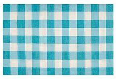 Talyn Flat-Weave Rug, Aqua kitchen sink rug