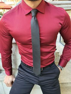 Collection: Spring – Summer 2020 Product: Slim Fit Cotton Shirt Color Code: Burgundy Shirt Material: cotton Available Size: S-M-L-XL-XXL-XXXL Machine Washable: No Fitting: Slim-Fit Package Include: Shirt and Tie Business Professional Outfits, Business Casual Attire, Business Outfit, Best Casual Shirts, Formal Shirts For Men, Mens Semi Formal Wear, Maroon Shirt Outfit, Homecoming Outfits For Guys, Mens Fashion Suits