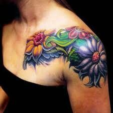 Front Shoulder Tattoos: Hi guys! this is Lindsy Scott and I am wondering how great front shoulder tattoos look. I am also seeking one sexy design for my shoulder area. Half Sleeve Tattoos Designs, Tattoo Designs For Girls, Flower Tattoo Designs, Flower Tattoos, Girly Tattoos, Colorful Tattoos, Tattoo Floral, Flower Designs, Front Shoulder Tattoos