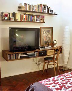 Vintagehome Flat Screen Tv Mounted On A Wall Shelf Shelves
