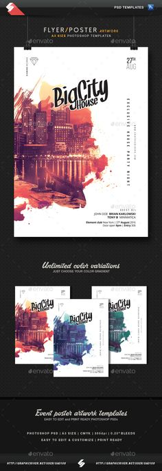 Awesome PSD Big City House Party A3 Flyer Template • Only available here ➝ http://graphicriver.net/item/big-city-house-party-flyer-template-a3/16397070?ref=pxcr