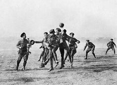 German and British troops forgot about the war for a moment and played football in the Christmas Truce of 1914 in WWI.