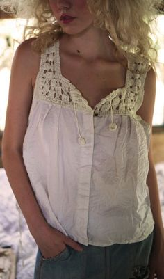 European Cotton Eira Tank with Hand Crocheted Yoke, Hand Sewn Antiqued Snaps and Shell Button on Front BY: MAGNOLIA PEARL $250.00 (JUNE 2016)