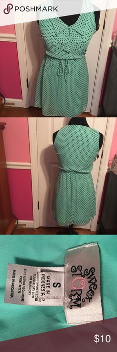 Dress Mint green with black polka dot sleeveless dress Dresses