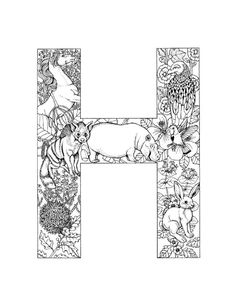 Alphabet Coloring Pages for Adults Fresh Coloring Sheet Letter H Coloring Pages Free Coloring Sheets, Printable Adult Coloring Pages, Alphabet Coloring Pages, Disney Coloring Pages, Coloring Book Pages, Coloring Pages For Kids, Alphabet Disney, Image Pinterest, Illustrations