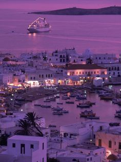 Mykonos Town at Night, Mykonos, Greece