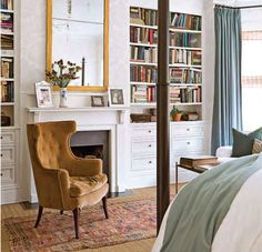 Bookshelves and fireplace in a bedroom