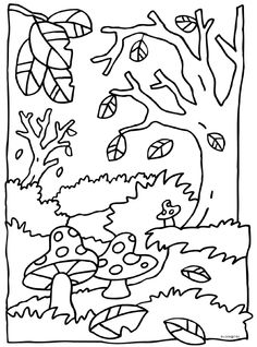 Fall colouring page woods Colouring Pages, Coloring Pages For Kids, Coloring Sheets, Coloring Books, Easy Fall Crafts, Crafts For Kids To Make, Projects For Kids, Fall Preschool, Autumn Art