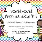 This 147 page vocabulary assessment pack is specifically for National Geographic's 1st Grade Reach for Reading program. It includes resources for t...