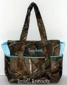 Real Tree AP Light Blue Fancy Diaper Bag or by smallsproutsbaby, $89.00