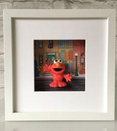 Sesame Street Elmo Figure Boxed Frame Wall Art by BenjoCreations