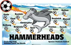 Hammerheads-45689  digitally printed vinyl soccer sports team banner. Made in the USA and shipped fast by BannersUSA. www.bannersusa.com