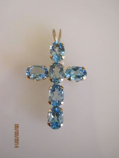 10K Yellow Gold Blue Aquamarine Stone Cross Pendant  #C224 #Pendant