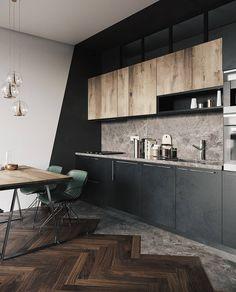 modern house design interior and exterior Kitchen Room Design, Modern Kitchen Design, Home Decor Kitchen, Kitchen Interior, Industrial Kitchen Design, Industrial Dining, Kitchen Ideas, Modern Design, Loft Interior Design