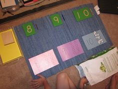 sandpaper numberal extension: sandpaper cards, bead rods, counter cards and counters