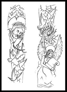Religious sleeve tattoo design by thirteen7s.deviantart.com on @deviantART