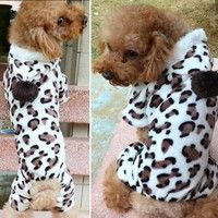 Buy Leopard Warm Winter Pet Dog Puppy Clothes Hoodie Jumpsuit Pajamas at Wish - Shopping Made Fun Dog Hoodie, Hoodie Jacket, Flannel Fashion, Flannel Style, Pet Dogs, Dogs And Puppies, Puppy Coats, Leopard Jacket, Puppy Clothes