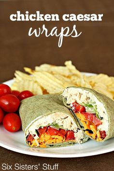 Chicken Caesar Wraps are a great lunch or dinner on the go! SixSistersStuff.com