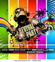Club Disco Flyer Set With Djs And Colorful Scalable Backgrounds A