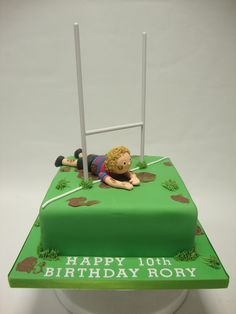 """Rugby Pitch Cake Small I like this idea, but to have child as """"noah"""" a little more personalised. Boys 16th Birthday Cake, Adult Birthday Cakes, 30 Birthday, Birthday Wishes, Rugby Cake, Dad Cake, Birthday Party Snacks, Sport Cakes, Cake Decorating Supplies"""