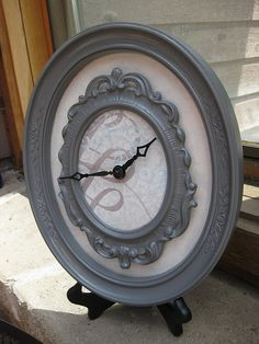 Awesome thrift store frames and scrapbook paper for a clock