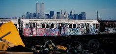 this is before they made the subway cars graffiti proof. note the twin towers in the background. 80 Photos of Old New York (1970-1989) | SUPERCHIEF