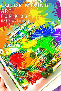 This Color Mixing Art for Kids is a great art project for exploring colors and color mixing! Your little ones will love creating art in an unconventional way! Grab this fun activity idea! Process Art Preschool, Preschool Color Activities, Painting Activities, Preschool Projects, Preschool Books, Hands On Activities, Learning Games For Kids, Teaching Colors, Coloring For Kids