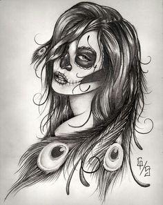 Sugar skull girl. Cool idea for a tattoo?