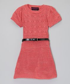 Loving this Coral Belted Sweater Dress - Infant & Girls on #zulily! #zulilyfinds