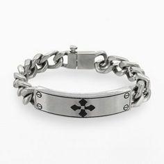 Stainless Steel Diamond Accent Cross Bracelet - Men