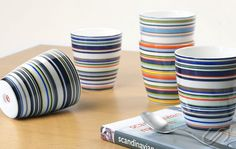 The bright Origo line. Cheese Dome, Finland, Objects, Stripes, Mugs, Tableware, Glass, Bowls, Butter