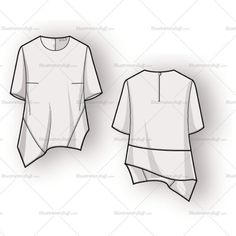 Crewneck blouse with zipper at center back, darts at bustline, and asymmetrical hemline.Includes front and back of fashion sketch.