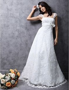 Princess A-Line Court Train Satin Lace Wedding Dress - USD $ 279.99 - Free shipping for all