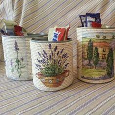 Manualidad con frasco reciclado, cuerda y con decoupage