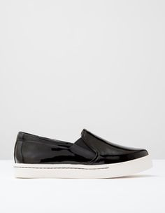 Black Patent Slip On Trainer Boden