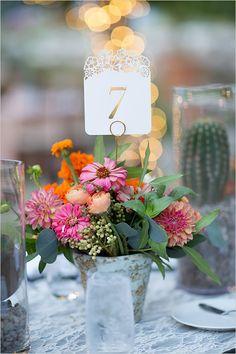flower pot floral table numbers @weddingchicks