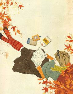 """Delicious autumn! My very soul is wedded to it, and if I were a bird I would fly about the earth seeking the successive autumns."" ― George Eliot.  Illustration by Penelope Dullaghan."