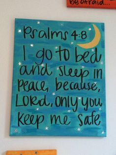 Bible verse canvas Psalms 4:8