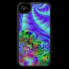Blue Swirls With Colorful Floral Abstract Iphone 4 Cases