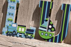 Custom Nursery Wooden Letters, Baby Nursery - Transportation Theme Custom Letters (airplane, train, car, sailboat)