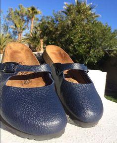 95778a4eee372e Birkis Mary Jane navy pebble grain leather clogs