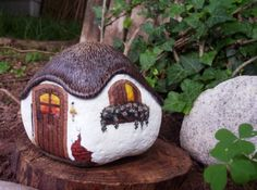 enchanting cottages | THE ENCHANTED COTTAGE -- Hand Painted Rock | Craft Ideas