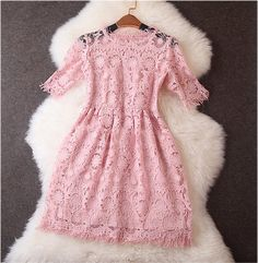 Lace Dress in Pink--I want something like this for Heidi's wedding next May...I might have to make one for myself! :)