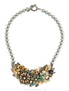 Miriam Haskell Beaded Floral Necklace - Jewelry - WH720006