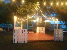 Backyard Gazebo, Backyard Lighting, Backyard Ideas, Outdoor Lighting, Lighting Ideas, Rustic Lighting, Garden Ideas, Gazebo Ideas, Fence Lighting